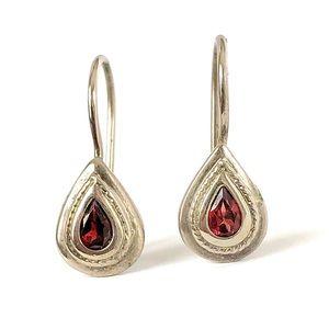 Vintage Garnet Sterling Silver Teardrop Earrings
